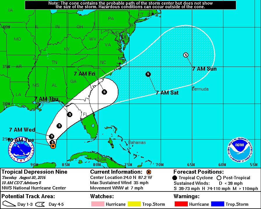 Hurricane Watch Issued For Florida Coast As Tropical Depression Strengthens