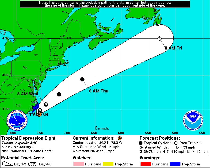 Path of tropical depression again moves north; watches, warnings issued