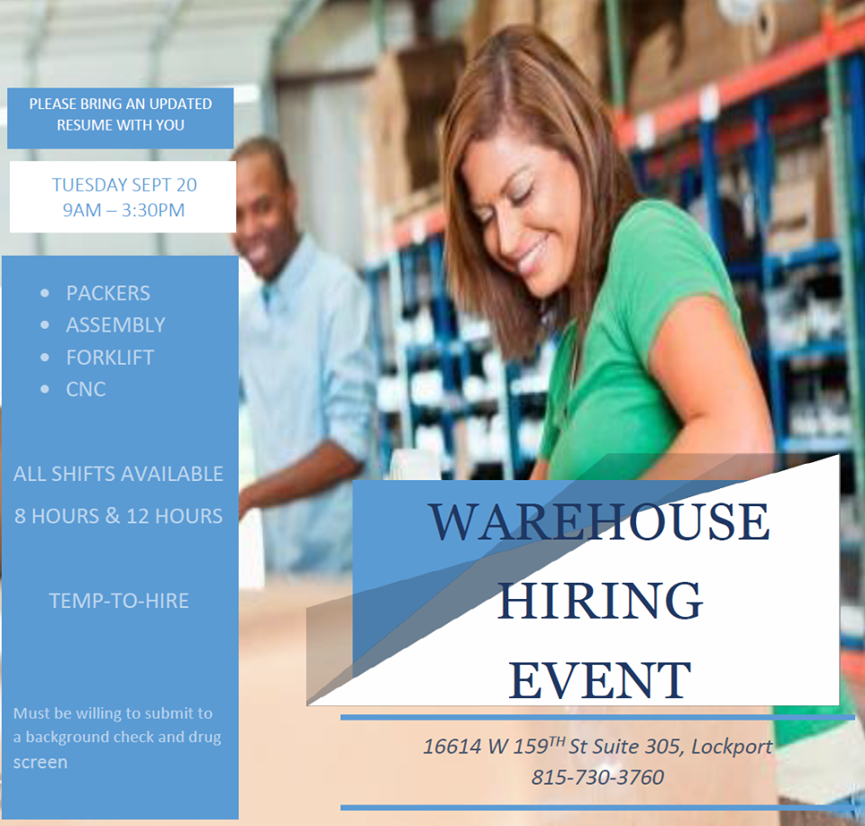 warehouse hiring event tuesday in lockport