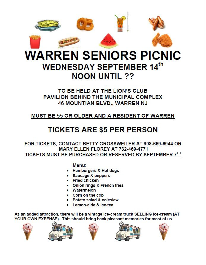 Sep 14   warren seniors picnic   warren, nj patch.