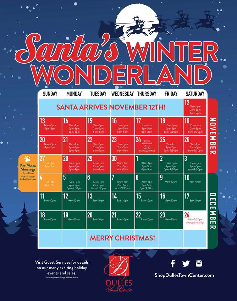Dulles Town Center Holiday Activity Planner Santa Photos Tree Lighting As