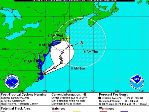 Hermine Churns Offshore, Threatening Northeast With Storm Surge, Rip Tides