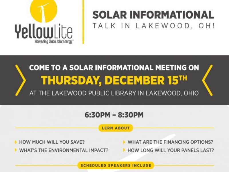 Lakewood Solar Informational Talk Coming To Lakewood