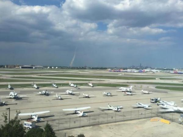 A tornado touched down in Chicago yesterday