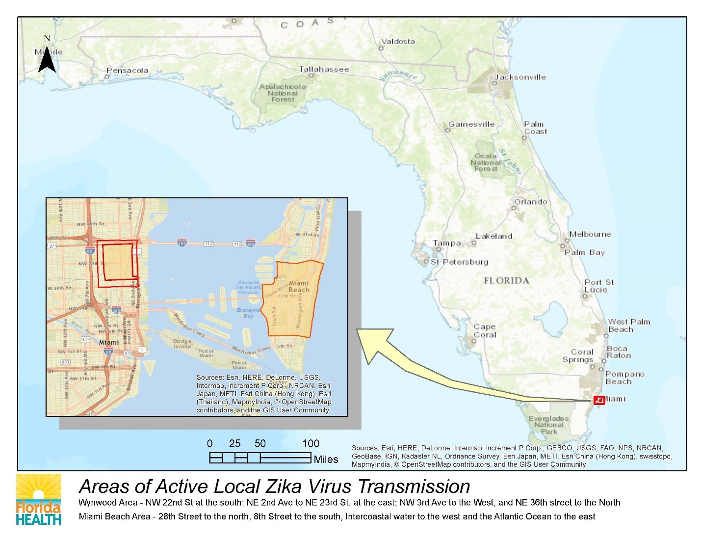 Florida Zika Virus Cases Near  Bradenton FL Patch - Florida map miami area