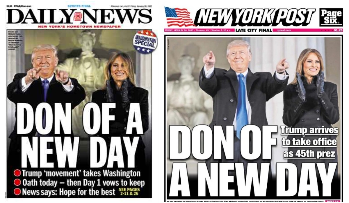 Nyc Inauguration Day >> New York Tabloids Run Nearly Identical Covers For Trump Inauguration Day - New York City, NY Patch