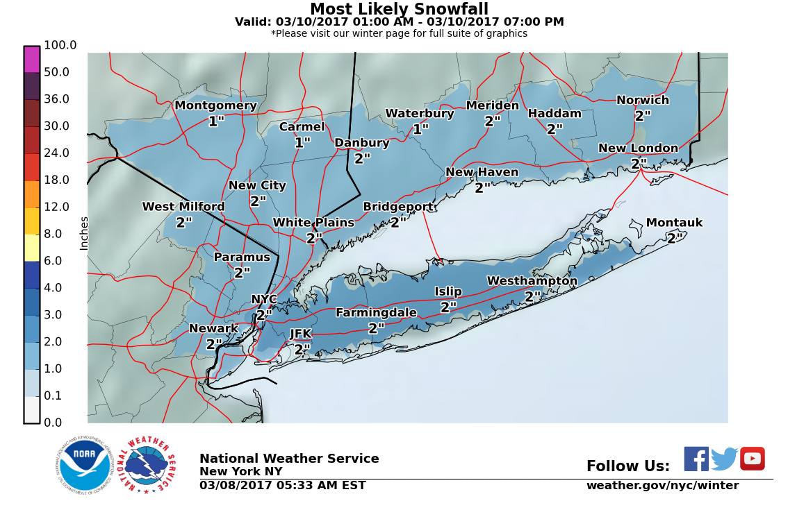 Snow predicted Monday night to Wednesday morning