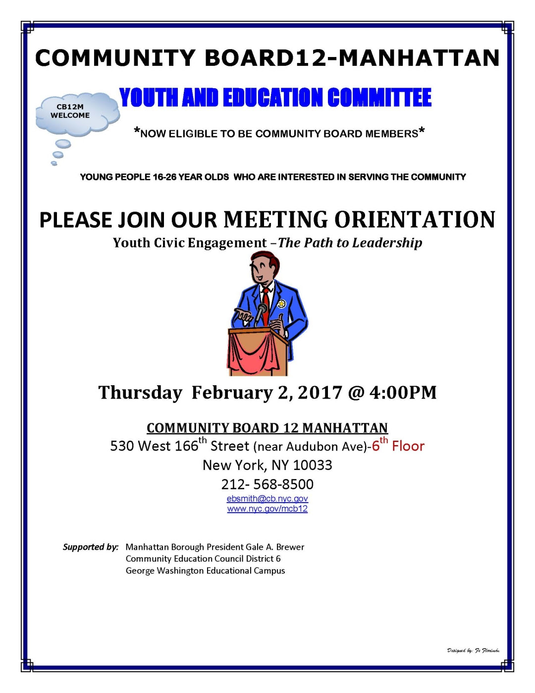 Uptown Community Board Seeking Young Members - Washington ...