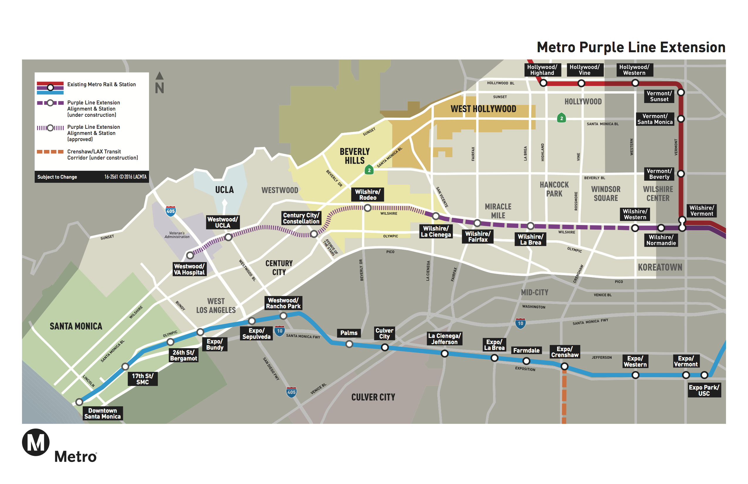 Metro Receives Nearly  Billion In Fed Money To Extend Purple - Los angeles map westwood