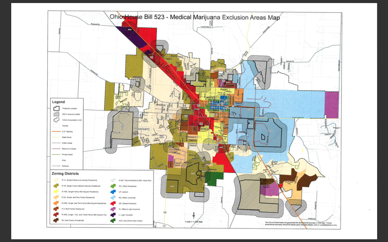 Additionally Oxford Only Allows Retail Business Uptown Blue In The Zoning Map Above And In The General Business Districts Red In The Map