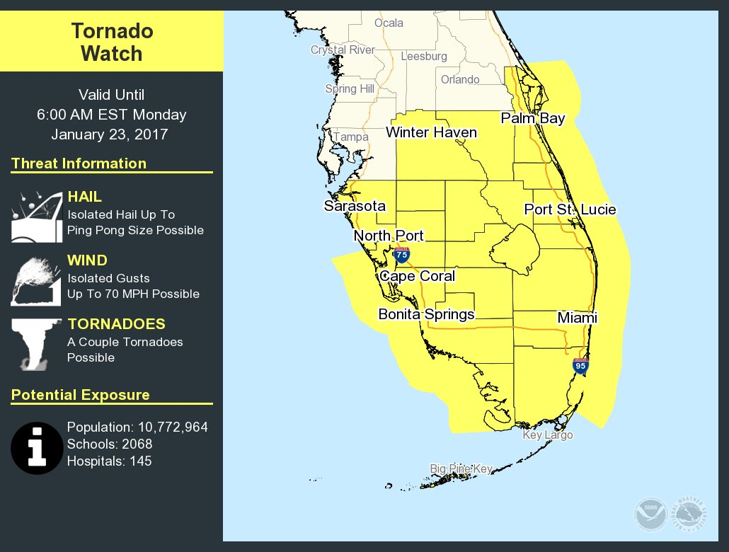 tornado watch issued for miami area miami fl patch. Black Bedroom Furniture Sets. Home Design Ideas