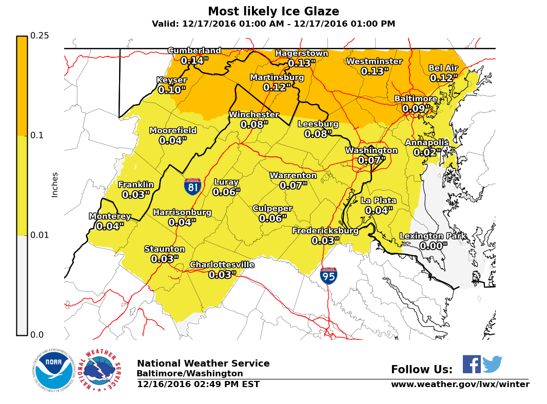 Virginia Weather Forecast Ice May Impact Roadways Until Noon - Us weather map driving conditions