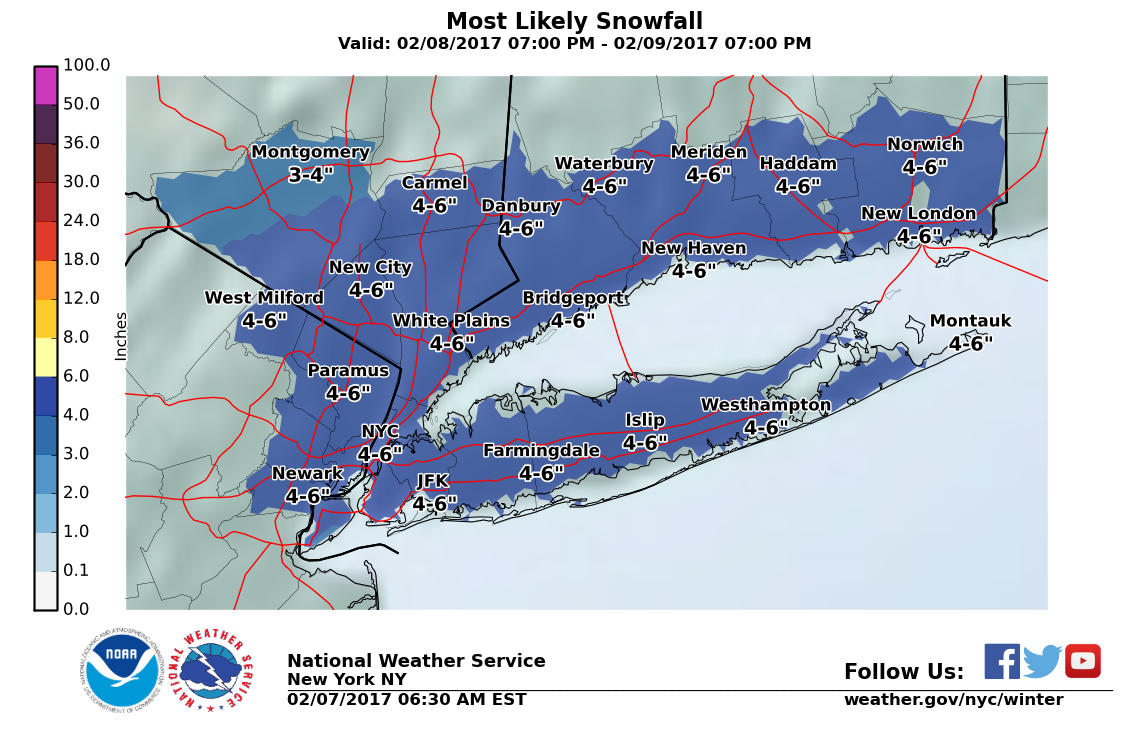 Long Island Weather Forecast Snowfall Estimate Maps Released For - Us weather map snow forecast
