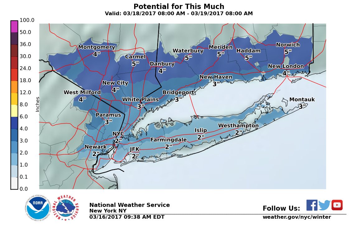Friday Snow Estimates Rise Again, Winter Weather Advisory Issued For Long Island