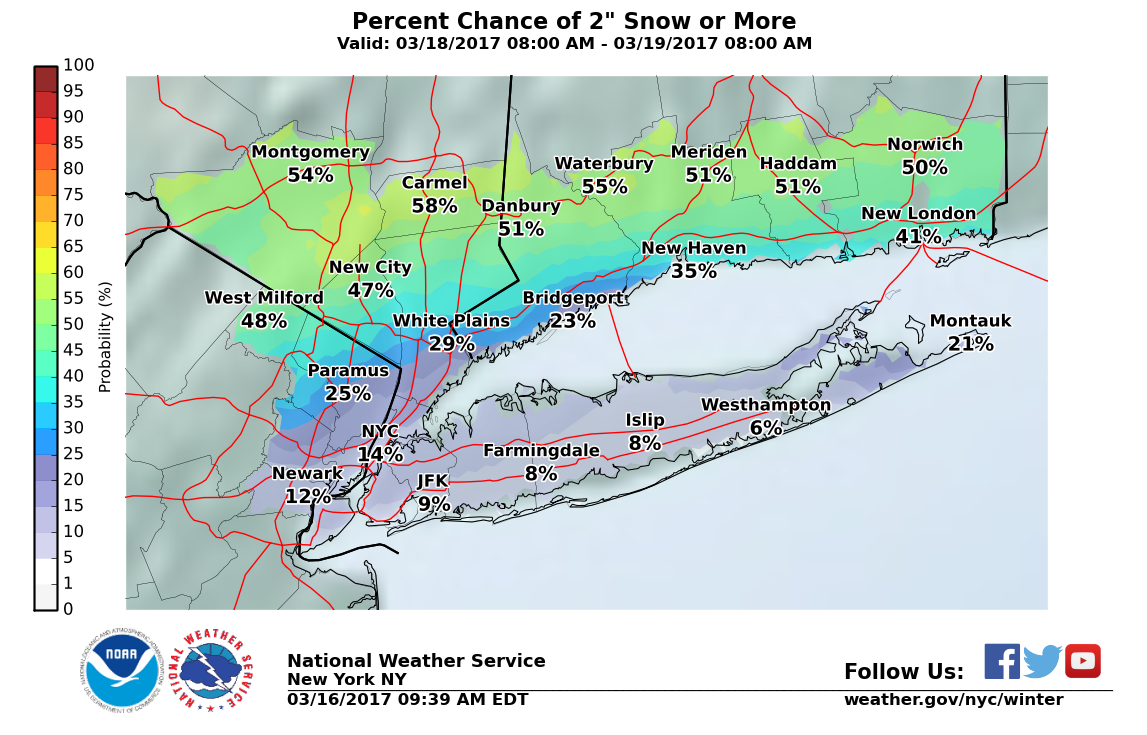 Up to five inches of snow possible Friday