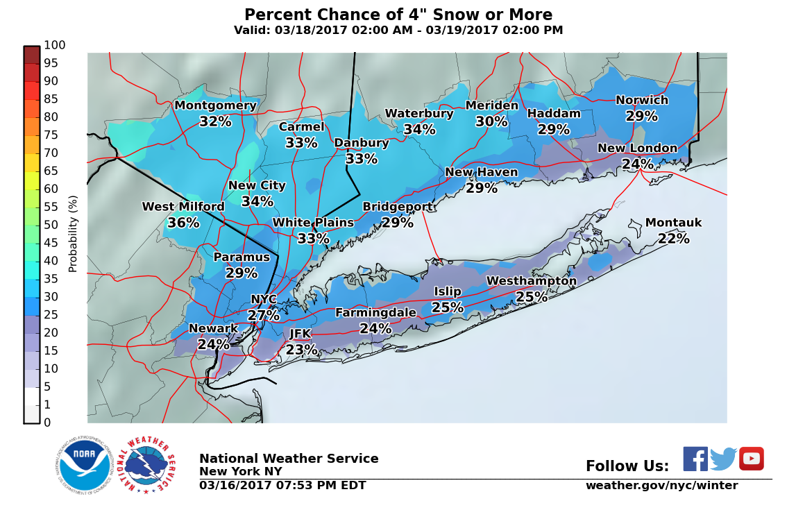 Long Island weather: Chance of up to about 3 inches of snow