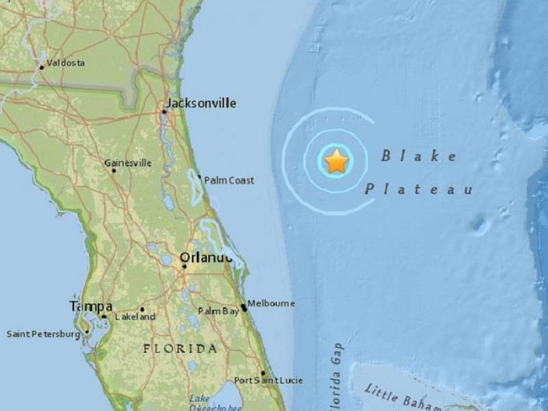 Magnitude Earthquake Confirmed Off Floridas Coast Sarasota - Map of east coast florida