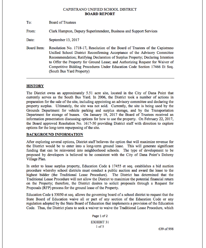 August 23 2017 CUSD Board Meeting Report Out On Closed Session – Board Report