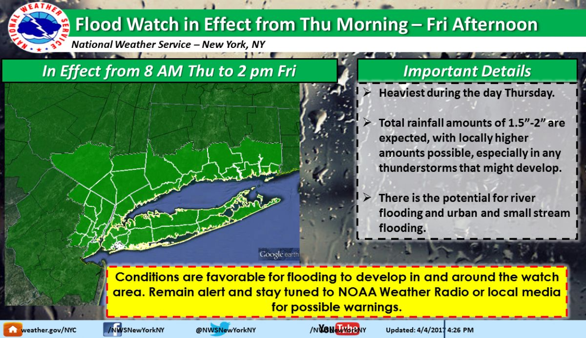NYC Weather Forecast Flood Watch Ahead Of Heavy Rain - Us weather map hourly