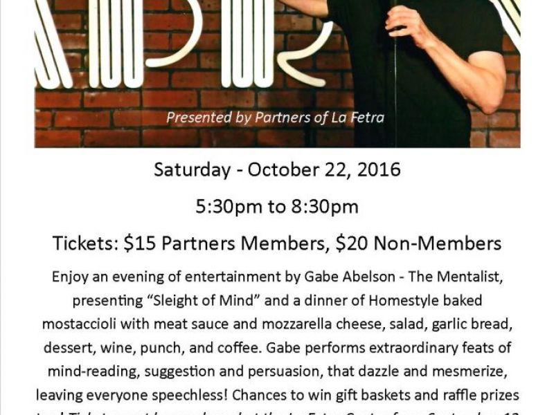 Dinner & A Mentalist Show at the La Fetra Center | Glendora, CA Patch