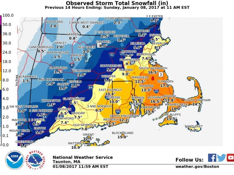 Rhode Island Town By Town Snow Totals