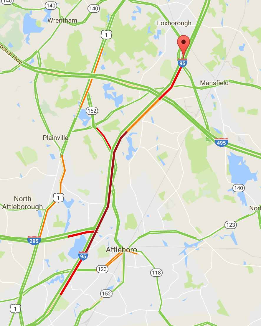 map of i  i  traffic delays for after foxborough crash foxborough. map of i    images  what is the best east coast rv route