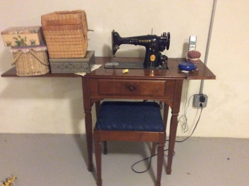 Vintage Singer sewing machine with cabinet and bench | Westfield ...