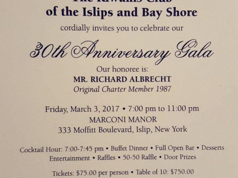 kiwanis club of the islips and bay shore to hold 30th anniversary gala on march 3 islip ny patch. Black Bedroom Furniture Sets. Home Design Ideas