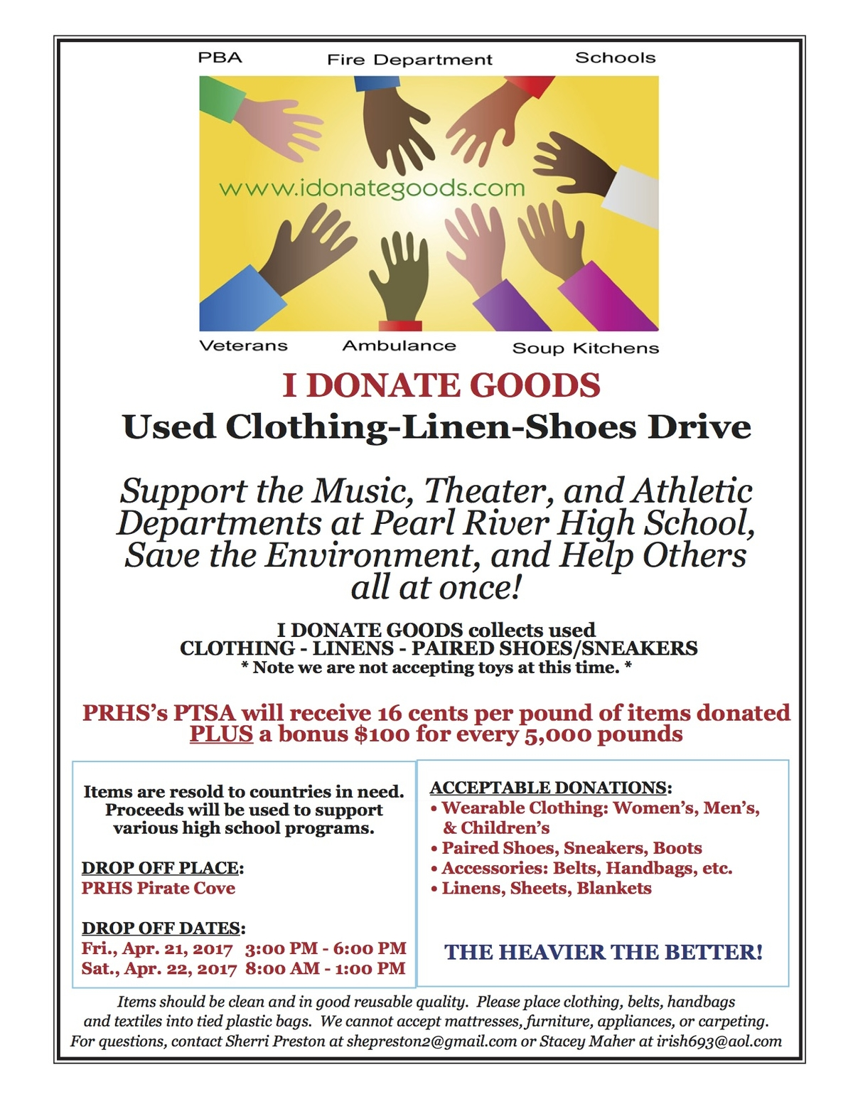 prhs partners with i donate goods to hold clothing drive pearl river ny patch. Black Bedroom Furniture Sets. Home Design Ideas