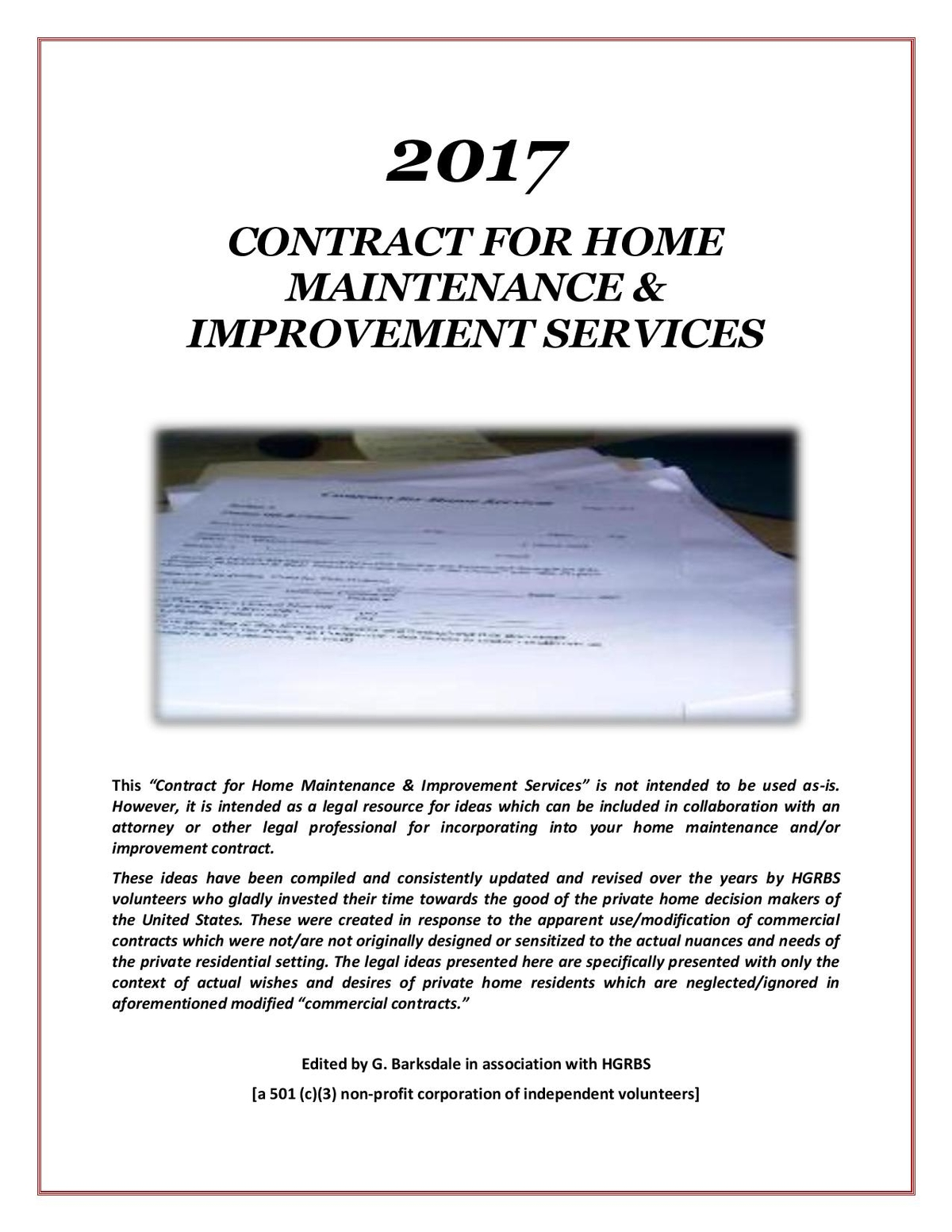 "Controversial ""2017 – Contract for Home Maintenance & Improvement ..."