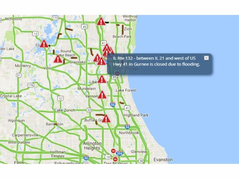 flood update  lake county road closures to snarl traffic