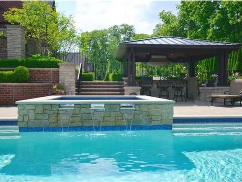 house rochester hills estate has saltwater pool hot tub with waterfall - Saltwater Hot Tub